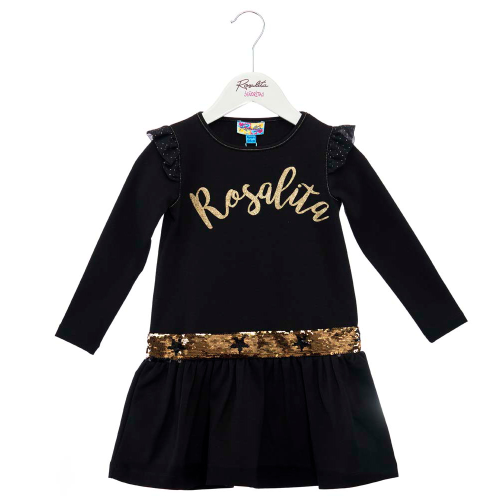 ROSALITA SEÑORITAS Black ruffle dress with sequins